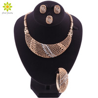 Trendy Leaves Crystal Bridal Jewelry Sets Gold Plated Rhines...