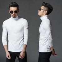 Новые дизайнерские мужская зимняя водолазка Футболка Сплошных цветов основывая Основные футболки с длинными рукавами Тонкого Fit ВСЕ MATCH Tops