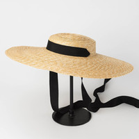 4fc7d1a3a08 Women Natural Wheat Straw Hat Ribbon Tie 15cm Brim Boater Hat kentucky  Derby Beach Sun Hat Cap Lady Summer Wide Brim UV Protect Hats Holiday