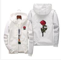 Rüzgarlık ceket erkekler artı boyutu 5XL 6XL dış giyim kapüşonlu kolej ceketleri erkek / kadın çiçekleri fimily kat nakış gül