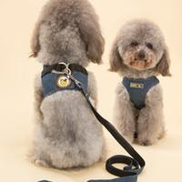 Soft Air Mesh Denim Hundegeschirr Hund Kleidung Haustier Katze Katze Weste Harness Leine Hund Komfort Brustgurt Weste für Walking