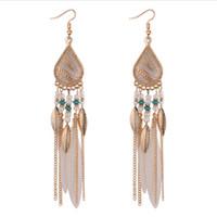 Boucle d'oreille de plume de Bohême pour les femmes bijoux de mode perles gland Dangle longues boucles d'oreilles Dream Catcher Drop boucles d'oreilles