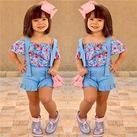 Yaz Bebek Kız Kıyafetler Çiçek Omuz Çiçekler tişört tulumları Plaj giysileri E22603 kapalı + sapanlar Şort 2 adet Giyim Seti Çocuk Tops