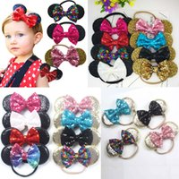 Baby Headbands Sequin Mouse Ear Headband Big Bow Children Ki...