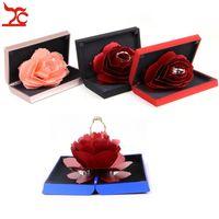 Romantique unique Pop Up Rose fleur de mariage Bague de fiançailles Cas créatif Femmes anniversaire Bague Saint Valentin stockage d'affichage boîte-cadeau