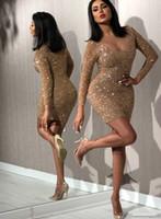Игристые спичечные коктейльные платья с длинными рукавами V-образным вырезом Sexy Club носить платье короткие вечеринки выпускные платья