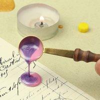 Сургучом Герметизация Ложка деревянная ручка Scoop в стиле ретро DIY Свеча Урожай деревянной ручкой Уплотнительная инструмент