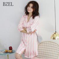 BZEL alla moda di estate della camicia da notte per le donne sveglie signore casuali Homewear accogliente raso Pigiama Gira-giù colletto a righe Feminino Pigiami