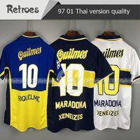 1997 98 레트로 클래식 Boca Juniors 2001 Boca Junior 레트로 축구 유니폼 # 10 로마 # 9 팔레르모 디고고 Maradona riquelme 축구 셔츠