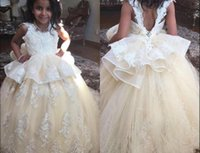 Adorable Champagne Flower Girl Dresses With Peplum Ruffles A...