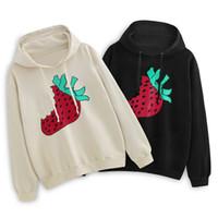 19FW 유명한 스타일리스트 스웨터 패션 딸기 인쇄 고품질 남성 여성 후드 티 커플 후드 롱 슬리브 2 색