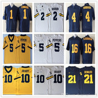 NCAA Michigan Wolverine 12 Tom Brady 2 Charles Woodson 4 Jim Harbaugh 5 Jabrill Peppers 16 Denard Robinson 21 Camisetas Desmond Howard