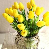 1Pcs Tulip flores artificiais real toque Artificiales Para Decora Bouquet Flores para a planta Falso Início presente de casamento Flores decorativa