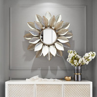 Modern Wrought Iron Wall Hanging Decorative Mirror 3D Wall M...