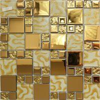 Żółta złota szklana mozaika ściana kuchenna backsplash płytka jmfgt008 szklana mozaika łazienka płytki