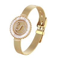 Fashion Stainless Steel Watch Style Bracelet Cubic Zirconia ...
