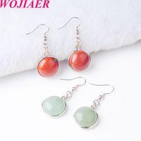 WOJIAER Women Dangle Hook Earring Natural Tiger s Eye Agate Crystal Round Gem Stone Drop Earrings Beads Healing Jewellery DBR804