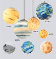 2019 E27 20 / 30 / 40 / 50CM 노르딕 크리 에이 티브 유니버스 행성 아크릴 펜던트 라이트 문 지구의 화성 천왕성의 램프 현대 교수형