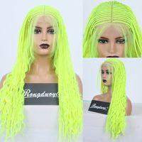RONGDUOYI желтые волосы 13x6 парики шнурка синтетический парик фронта шнурка высокотемпературные волосы волокна длинные плетеные коробки косы парики для женщин