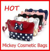Mode Sacs cosmétiques souris Sac mignon d'embrayage bowknot maquillage sac à main pour le maquillage Voyage Organisateur et 5 types Toiletry