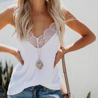 Women V Neck Lace Strappy Vest Tops Summer Casual Sleeveless...