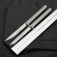 새로운 다마스커스 강철 펜 TC4 티타늄 합금 핸들 날카로운 휴대용 날카로운 야외 접는 칼