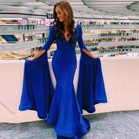Abiti da ballo a maniche lunghe blu royal con scollo a V profondo abito da sera a sirena in raso lunghezza piano semplici abiti da festa economici
