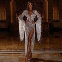 2020 reizvolle Troddel-Kleid mit tiefem V-Ausschnitt Nachtclub-Partei-Kleid-Perspektive Kleid-Sommer-Silver Plus SizeDress S-XXL