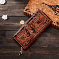 Hombres creativa retro dólares carpeta larga del patrón de impresión de dinero América Zipper la cartera titular de la tarjeta de clave de moneda del dólar de EE.UU. monedero VT1594