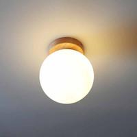 Modern Ahşap Cam Tavan Işıkları Yüzeye Monte Platfond Tavan Lambası Küresel Özgünlük Yatak Odası Oturma Odası Işıkları