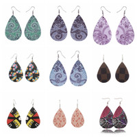 34 designs waterdrop flower pattern PU leather Earrings pers...