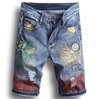Erkek Yeni Yaz Delikler Kot Şort Moda Denim Jeans İnce Düz Pantolon Trend Erkek Tasarımcı Pantolon