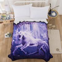 3D Koşu Unicorn Battaniye Tasarım Battaniye Pazen Polar Yumuşak Ekose Baskı Battaniye Yatak / Kanepe Atar moda 150 * 200 cm