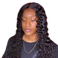 موجة المياه شعر مستعار مجعد الدانتيل الجبهة الإنسان الشعر الباروكات للنساء السود بوب شعر مستعار البرازيلي طويل أمامي عميق الرطب ومائج HD fullsers glpoi