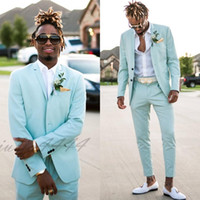 2019 Mint Green Mens Suits Slim Fit Two Pieces Beach Groomsm...