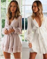 Женщины Платья весна-лето V-образный вырез сплошной цвет Розовый Белый Узелок Лук Элегантные длинные рукава платье ретро моды Темперамент