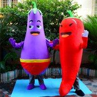 Personnalisé professionnel Red Chili Purple Aubergine Mascot Costume de bande dessinée Légumes caractère Vêtements Halloween festival Parti Fantaisie Robe