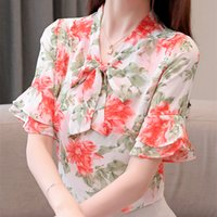 a8025287488 New Arrival. 2019 New Fashion Summer Women Blouses And Tops Chiffon For  Office Ladies Flare Short Sleeve V Neck ...