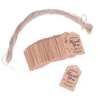 100pcs kahverengi Kraft hediye etiketleri parti lehine misafirler için bebek duş'ın ler kişiselleştirilmiş düğün hediyeleri için You kağıt etiketleri ederiz