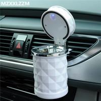 Portable universal del cenicero del coche del humo de cigarrillos del automóvil cenicero de luz LED azul sin humo conveniente toda dropshipping accesorios