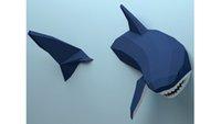 Décoration de mur de requin géométrique en trois dimensions nordique ornements de décoration créative marée jouer papier moule diy manuel