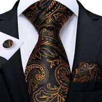 Быстрая доставка шелковый галстук набор черного золота Paisley мужская оптовая торговля классическая жаккардовая тканая галстука карманные квадратные запонки свадебные бизнес N-7052