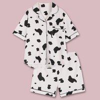 QWEEK İnek Kadınlar pijama Femme 2020 Pamuk Nightgowns Yaz için Kadınlar Nightie Pijamas Ev Giyim pijamalar yazdır