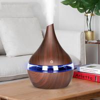 300ml USB bois diffuseur d'air électrique Aroma humidificateur d'air à ultrasons L'huile essentielle fabricant de brume fraîche aromathérapie pour le bureau à domicile et voiture