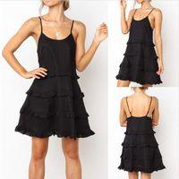 Mulheres vestidos das senhoras Camisola de Moda roupas femininas Verão Spaghetti Strap Ruffle Vestido Designer U Neck