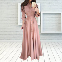 Elegant Long Shirt Dress Fashion Long sleeves Turn Down Coll...