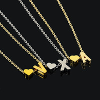 26 English Initial Necklace Silver Gold Heart English Letter...