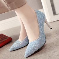 2020 new wild fashion Sequin High Heels Women Shiny Pointed Toe Pumps Sexy sequin bridesmaid banquet shoes