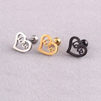 Fashion Love Stainless Steel Earring Studs Cute Heart Shaped...