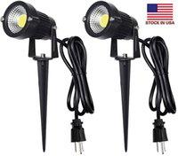 Paisaje al aire libre de iluminación LED 5W impermeable Graden luces COB 3000K focos LED con pinchos del soporte para el césped lámpara decorativa de EE.UU. 3- Plug